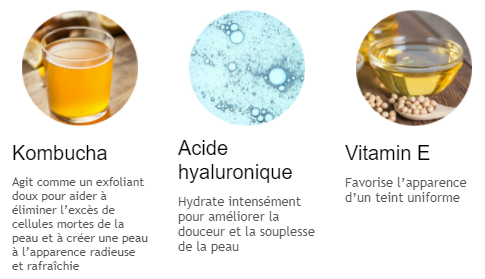 kombucha acide hyaluronique vitamine E hydrating facial mask