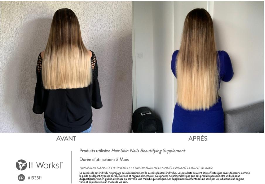 Résultat sur les cheveux au bout de 3 mois d'utilisation du Hair Skin Nails It Works